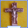 C2006 The True Church Crucifix - Hand-painted Alabaster Wall Cr.