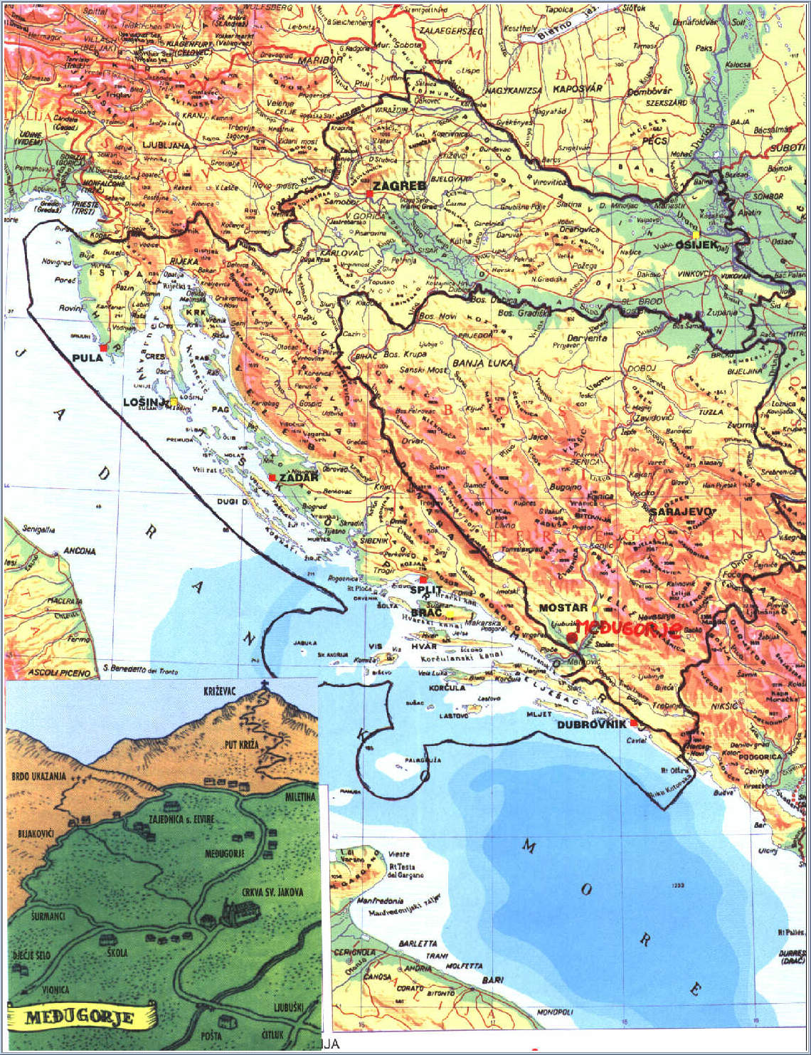 Medjugorje Map - Bosnia and Herzegovina, Croatia
