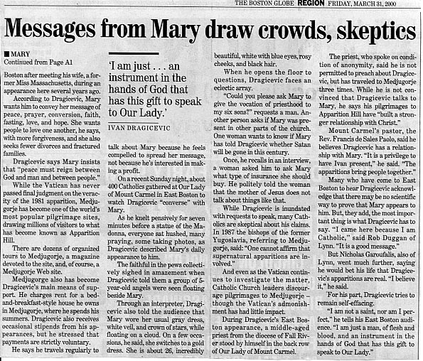 Messages from Mary, Boston Globe, March 31. 2000