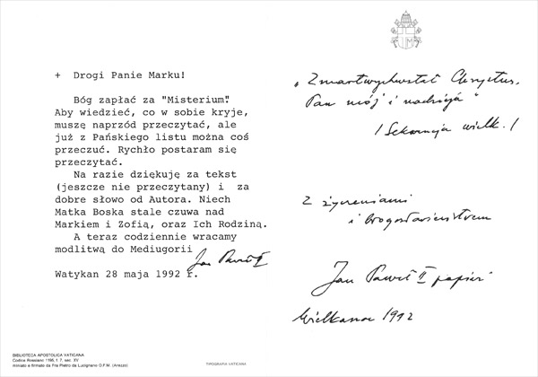 PRIVATE LETTERS FROM HOLY FATHER JOHN PAUL II ABOUT MEDJUGORJE - 02