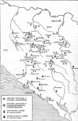 LOCATIONS OF CHURCHES IN BOSNIA BEFORE THE ARRIVAL OF THE OTTOMANS