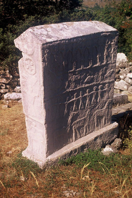 THE CYRILLIC INSCRIPTION ON THE STECAK IN BROTNICE IN KONAVLE SOUTH OF DUBROVNIK PROBABLY FROM 15TH CENTURY (NOTE ALSO THE GLAGOLITIC A APPEARING AT THE END OF THE FIRST   LINE)