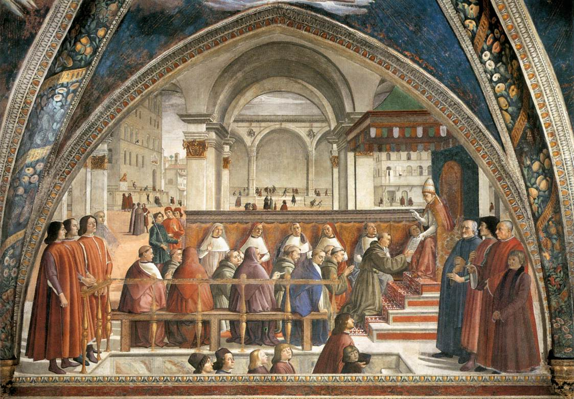 THE CONFIRMATION OF THE FRANCISCAN RULE BY DOMENICO GHIRLANDAIO, CAPELLA SASSETTI, FLORENCE