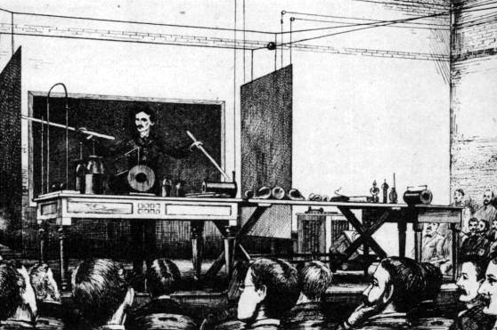 WIRELESS TRANSMISSION OF POWER AND ENERGY DEMONSTRATION DURING HIS HIGH FREQUENCY AND POTENTIAL LECTURE OF 1891 - NIKOLA TESLA  BORN 	10 JULY 1856 (1856-07-10) SMILJAN (CROATIAN MILITARY FRONTIER) (TODAY CROATIA) DIED 	7 JANUARY 1943(1943-01-07) (AGED 86) HOMELAND: CROATIAN - FIELDS 	MECHANICAL AND ELECTRICAL ENGINEERING