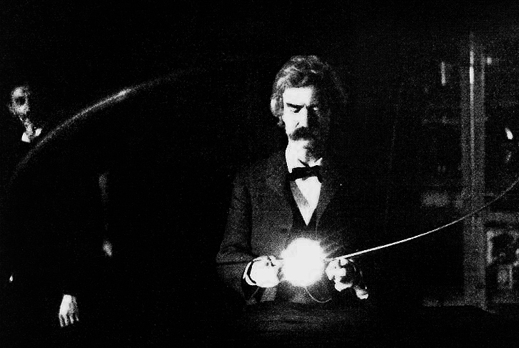 MARK TWAIN IN TESLA'S LAB, EARLY 1894 - MARK TWAIN (PENNAME OF SAMUEL LANGHORNE CLEMENS) IN THE LAB OF NIKOLA TESLA, SPRING OF 1894. ORIGINALLY PUBLISHED AS PART OF AN ARTICLE BY T.C. MARTIN CALLED TESLA'S OSCILLATOR AND OTHER INVENTIONS THAT APPEARED IN THE CENTURY MAGAZINE (APRIL 1895) - NIKOLA TESLA  BORN 	10 JULY 1856 (1856-07-10) SMILJAN (CROATIAN MILITARY FRONTIER) (TODAY CROATIA) DIED 	7 JANUARY 1943(1943-01-07) (AGED 86) HOMELAND: CROATIAN - FIELDS 	MECHANICAL AND ELECTRICAL ENGINEERING