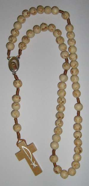 E8145030 WH - White Wooden Rosary of Immaculate Mary (Gospa)