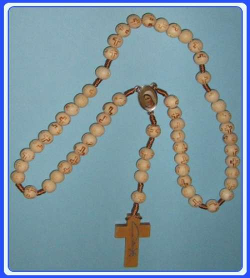 MON200-R17 - White Wooden Rosary of Immaculate Mary (Gospa)