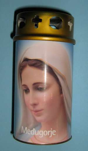 EC-M C05 - Ecological Candle - Medium - Medjugorje Queen of Peace – Medjugorska Gospa – Kraljica Mira