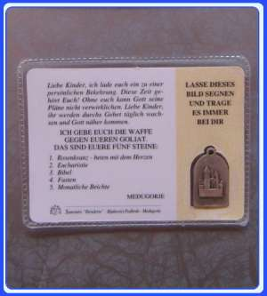 PC_GE106 Medjugorje Prayer Medal Card - German